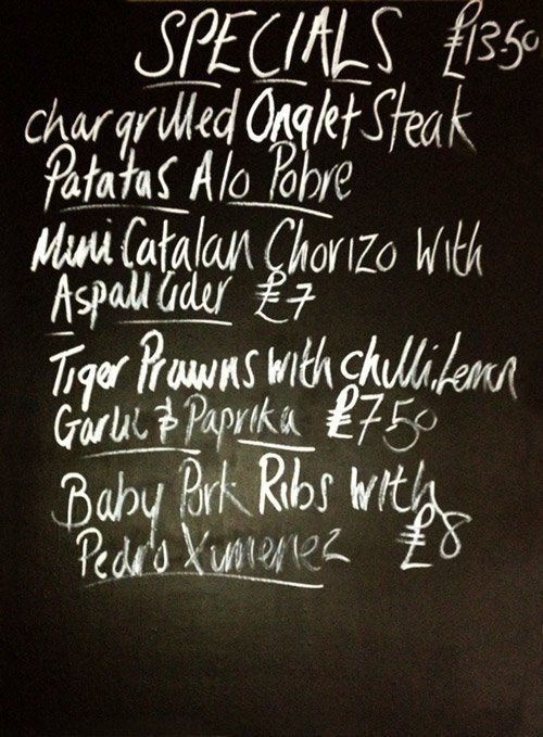 El Gato Negro specials blackboard 26th September 2012