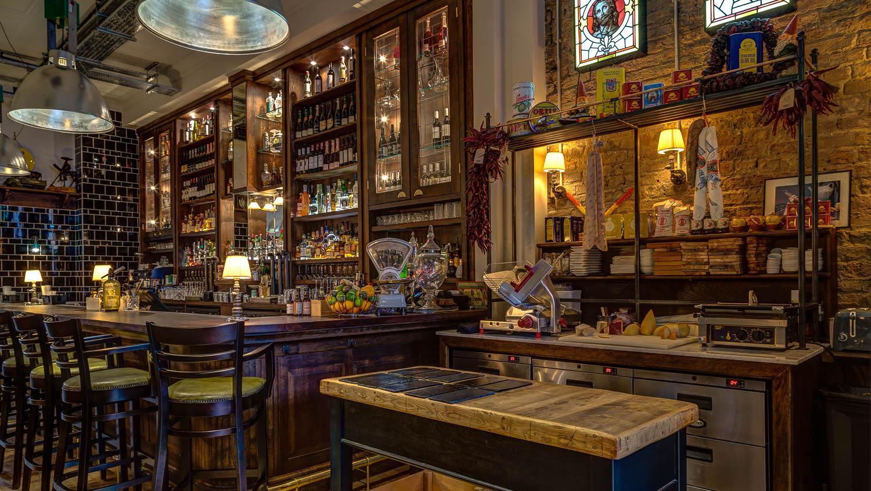 Bar and charcuterie station at award-winning restaurant El Gato Negro
