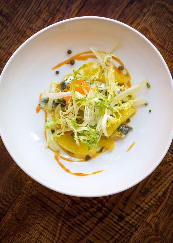 Sardines marinated 'en escabache' with fennel and orange salad