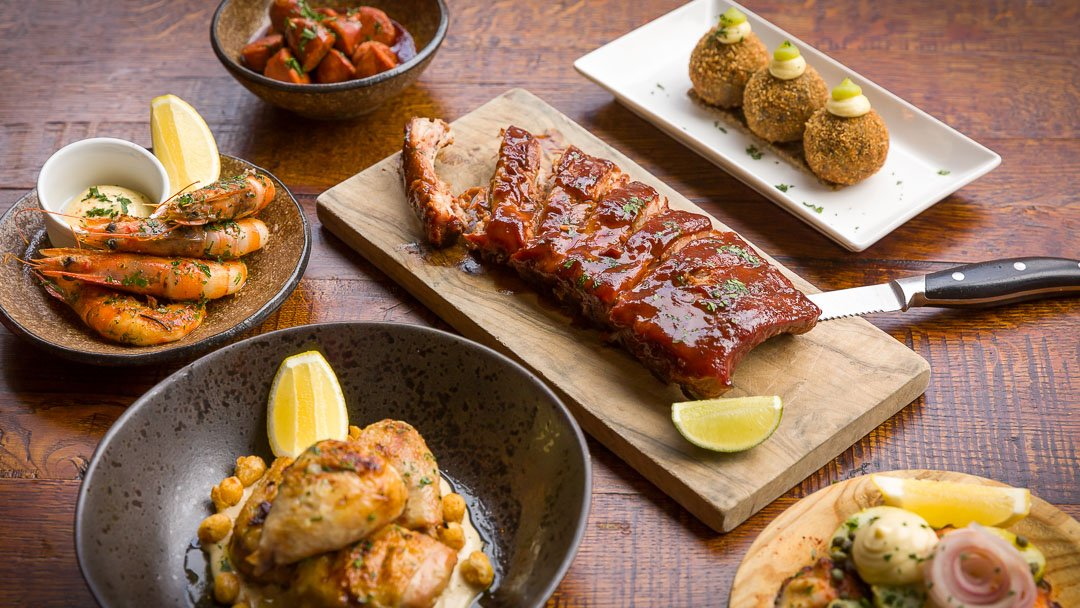 Selection of dishes at El Gato Negro