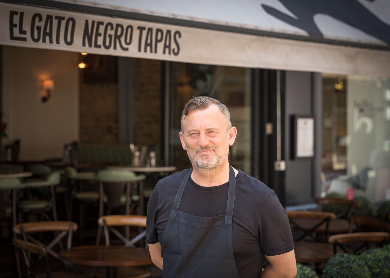 Chef Simon Shaw outside El Gato Negro Manchester